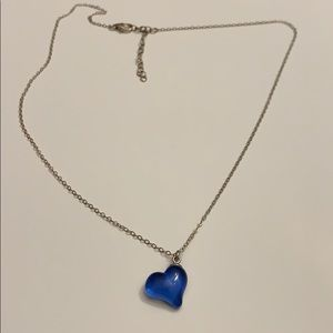 Blue Heart 💙💙 Sterling Silver Necklace.